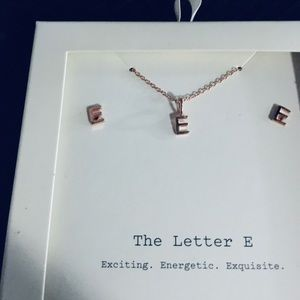 A New Day 'Letter E' Sterling Silver Jewelry Set